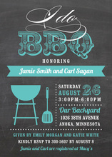I Do BBQ Script Turquoise Wedding Invitations