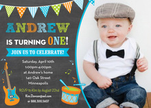 Making Music Blue Orange Photo Birthday Invitations