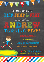 Trampoline Boy Colorful Stripes Chalkboard Invitations