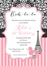 Paris Poodle Frame Luxury Birthday Invitations