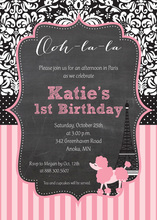 Paris Poodle Frame Chalkboard Birthday Invitations