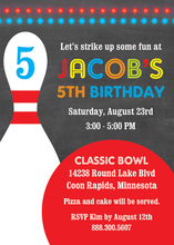 Red Bowling Ball Chalkboard Birthday Invitations