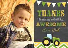 Green Tractor Chevrons Photo Thank You Card