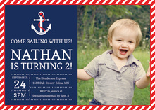 Red Navy Nautical Photo Birthday Invitations