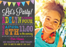 Rainbow Party Poster Chalkboard Photo Invitations