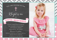 Chevrons Polka Dot Baptism Banner Chalkboard Photo