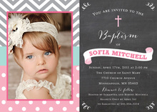 Chevrons Pink Polka Dots Baptism Chalkboard Photo