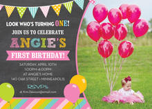 Pastel Balloons Stripes Chalkboard Photo Invitations