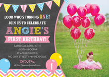 Pink Blue Yellow Balloons Chalkboard Photo Invitations