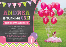 Pink Green Purple Balloons Chalkboard Photo Invitations