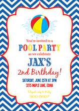 Splash Blue Chevrons Pool Party Beach Ball Invitations