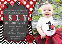 Cute Contrasting Ladybug Photo Birthday Invitations