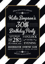 Black Diagonal Stripes Gold Double Border Invitations