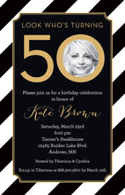 50th Black Diagonal Stripes Gold Double Border Photo