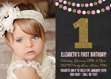 Gold Pink Glitter Photo Birthday Invitations