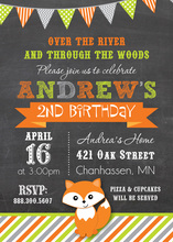 Cute Little Fox Stripes Chalkboard Birthday Invitations