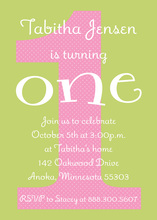 Pink Polka Dot First Birthday Turning 1 Invitations