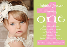 Pink Polka Dot First Birthday Photo Card