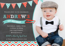 Rustic Red Turquoise Biplane Chalkboard Invitations