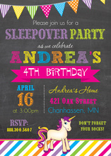 Vibrant Unicorn Chalkboard Banner Birthday Invitations