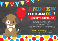 Puppy Dog Primary Dots Chalkboard Birthday Invitations