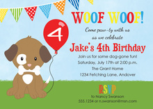 Cutest Puppy Dog Red Balloon Birthday Party Invitations