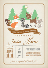 Woodland Animals Baby Shower Invitations
