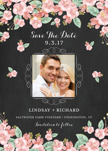 Chalkboard Floral Save the Date Photo Card