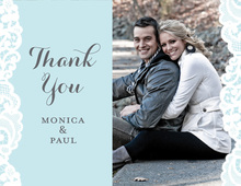 Blue Lace Photo Thank You Cards