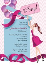 Balloon Gift Brunette Girl Bridal Shower Invitations