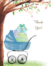 Beautiful Bassinet Boy Thank You Cards
