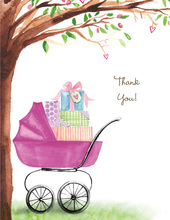 Beautiful Bassinet Girl Thank You Cards
