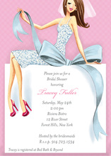 Beautiful Brunette Bride Bow Bridal Shower Invitations