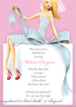 Beautiful Blonde Bride with Bow Bridal Invitations