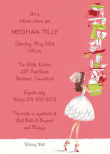 Balancing Bride Holding Gifts Shower Invitations