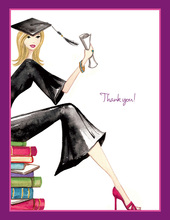 Grad on Books Blonde Thank You Cards