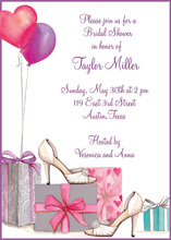 Bridal Shoes and Balloons Bridal Shower Invitations