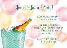 Champagne Watercolor Bubbles Invitation