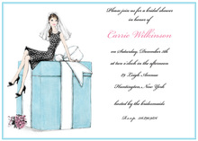 Bride on Present Box Bridal Shower Invitations