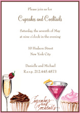 Cupcakes Cocktails Party Invitations