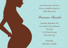 Silhouette with Curls Aqua Baby Shower Invitations