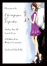 Cute Champagne Couple Invitations