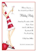 Cocktail Candy Cane Girl Invitations