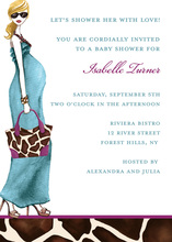 Fashionable Mom Blue Blonde Invitation