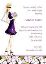 Floral Bride In Deep Purple Bridal Shower Invitation