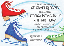 Colorful Ice Skates Birthday Party Invitations