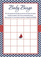 Navy Chevron Baby Shower Bingo Cards