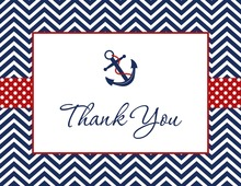 Navy Chevron Anchor Thank You Cards