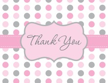 Pink Gray Polka Dot Thank You Cards