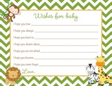 Green Chevron Safari Animals Baby Wishes